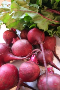 Red beets ready to cook.
